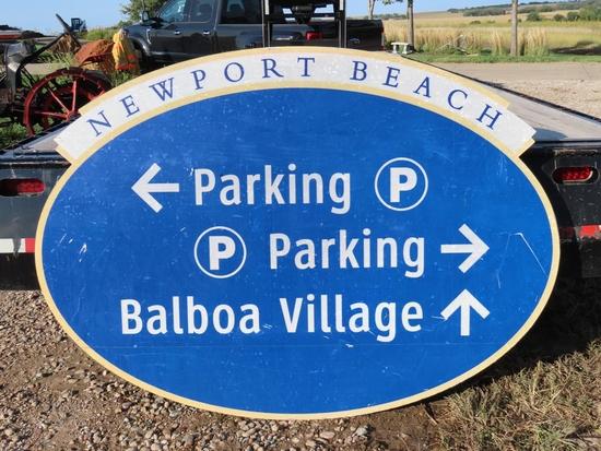 """Newport Beach Directional Sign, 72"""" x 52 1/2""""."""