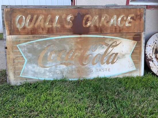 "Quall's Garage Coca-Cola Metal Sign, Mounted on Wood Board, 71"" Wide x 39"" Tall."