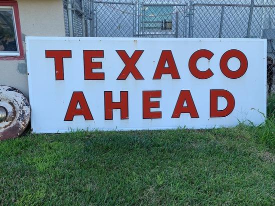 "Large Texaco Ahead Sign, 115"" Wide x 44"" Tall."