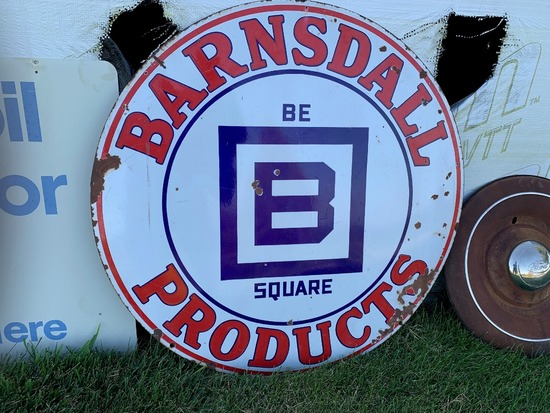 "Barnsdall Products Round Sign, Porcelain, 47"" Round."