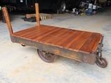 Heavy Duty Railroad 4-Wheel Freight Cart with Cast Iron Wheels, Oak Top & (2) Handles.