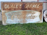 Quall's Garage Coca-Cola Metal Sign, Mounted on Wood Board, 71