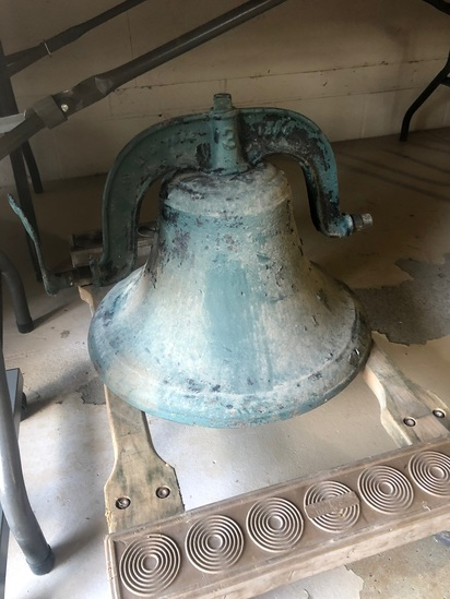 Antique Cast Iron School Bell with Yoke & Cradle, the Bell is marked @ the Yoke: C.S. Bell & Co #3 &