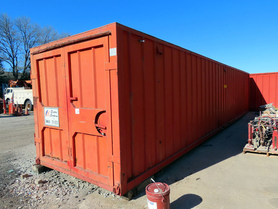 40' Steel Shipping Container with Cargo Doors on Each End, Wood Floor, Interior Lighting, 110Volt Ou