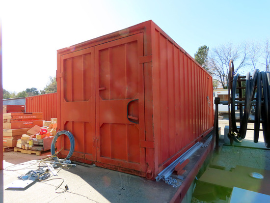 20' Steel Shipping Container with Cargo Doors on Each End, Wood Floor, Interior Lighting, 110Volt Ou