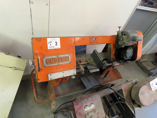 Ensley Portable Steel Horizontal Band Saw on Cart, Auto Stop, Filings Drawer, 2-Wheel Cart.