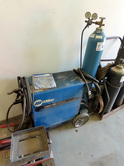 Miller Millermatic Vintage Portable Wire Feed Welder on Cart, Compressed Gas Tank, Leads & Gun.