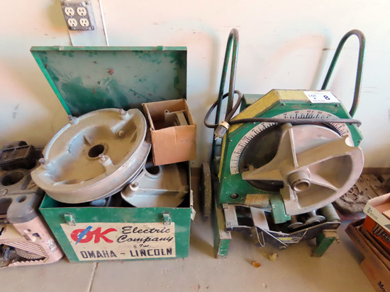 Greenlee Model 555 Heavy Duty Portable Electric Tubing Bender on Cart with Dies & Die Case.