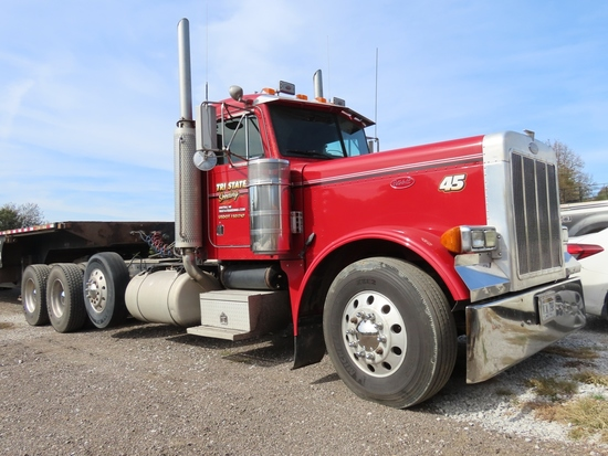 2000 Peterbilt Model 379 Extended Hood Conventional Triple Axle Day Cab Truck Tractor, VIN #1XP-5DB9