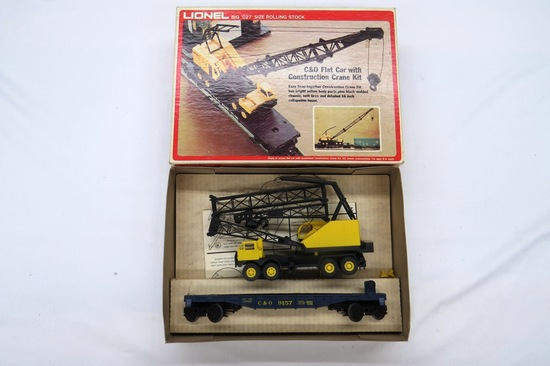"Lionel Big ""027' Size Rolling Stock, C & O Flat Car with Construction Crane"