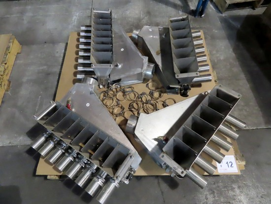 Pallet of (4) Dry Fertilizer Manifolds-1 Pair of 6 Outlet & 1 Pair of 8.