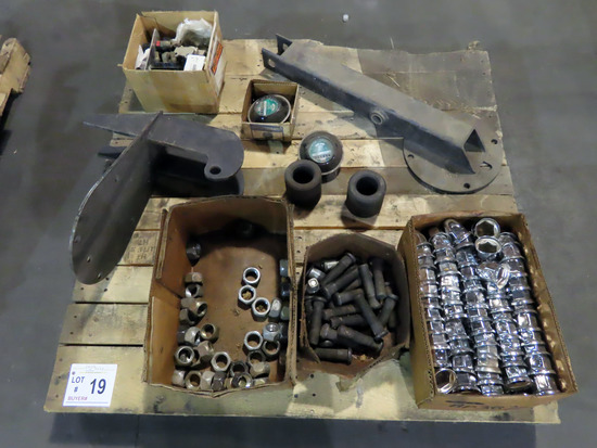 Pallet of Wheel Stud Bolts, (2) Trailer Hub Mileage Tachometers, Bolt Covers, Misc.