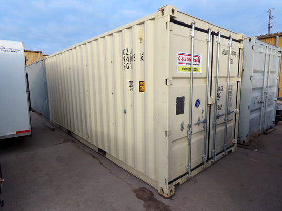 2016 8' x 20' Portable All Steel Jobsite Storage Container, Cargo Doors, Li