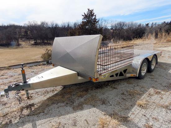 H & H 16' Tandem Axle All Aluminum Tilt Deck Trailer, 7,000 lb. GVW, Ramsey 5000 Electric Winch