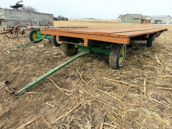 John Deere 14' Hay Trailer with John Deere 953 4-Wheel Wagon Gear & Wood Deck.