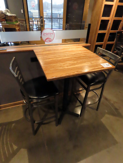 """30""""x30"""" 2-Person High Top Single Pedestal Table with (2) Metal Padded Seat"""