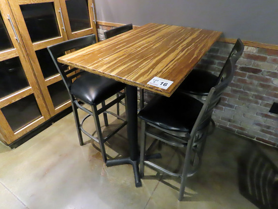 """30""""x48"""" 4-Person High Top Double Pedestal Table with (4) Metal Padded Seat"""