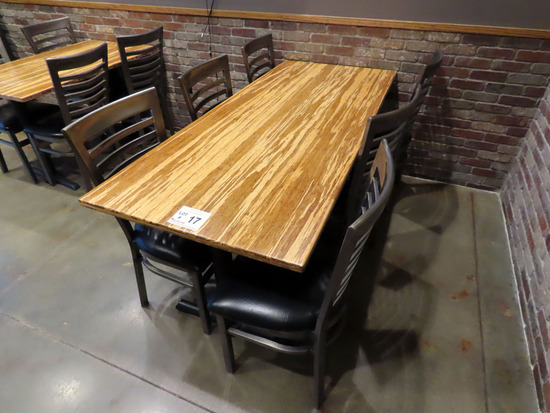 """30""""x72"""" 6-Person Double Pedestal Table with (6) Metal Padded Seat Chairs."""