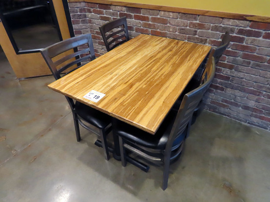 """30""""x48"""" 4-Person Double Pedestal Table with (4) Metal Padded Seat Chairs."""