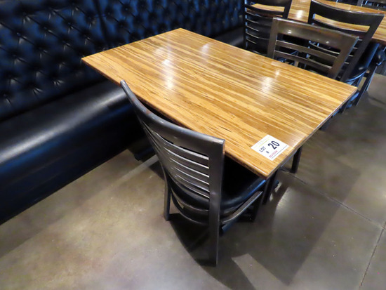 """30""""x48"""" 4-Person Double Pedestal Table with (2) Metal Padded Seat Chairs."""