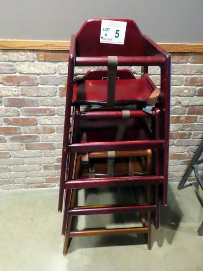 (3) Wooden Children's High Chairs.