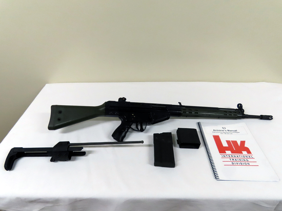 "H & K Model G3 Fully Automatic Rifle, SN# A012670, 7.62x51mm (308 Cal), 17.7"" Barrel, Flash"