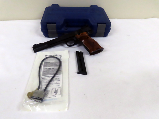 "Smith & Wesson Model 41 Semi-Auto Pistol, SN# UBS0945, .22LR, 7"" Barrel, Wood Grips, Original Hard S"