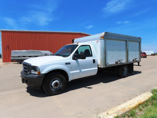 2003 Ford Model F-350 Super Duty Single Axle Dually Box Truck, VIN# 1FDWF36L23EC60933, Triton 5.4L