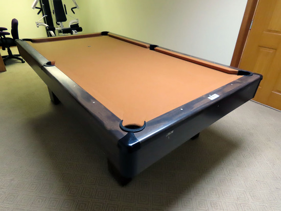 Brunswick Bristol 8' Slate Top Pool Table with Pool Cue Rack with Belgium Pool Balls.