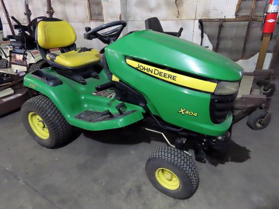 John Deere Model X304 Riding Lawn & Garden Tractor, SN# MOX304A44634, John Deere 1-Torque 18.5HP Gas