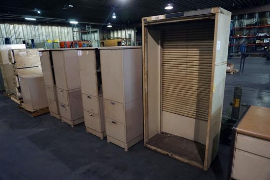 (2) 2-Drawer Metal File Cabinets, (4) Pressed Wood Credenzas.