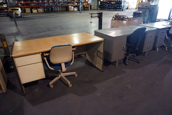 (3) Metal & Wood Desks with Chairs, 6' Folding Table.