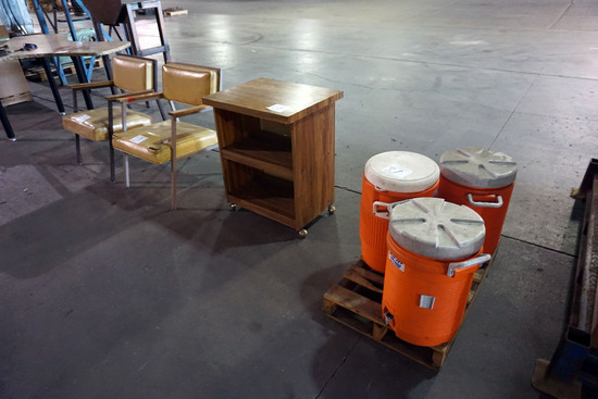 (2) Chairs, Rolling Side Table, Water Jugs.
