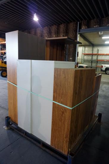 Pallet of Wood Office Desk, (2) Hon 4-Drawer File Cabinets.
