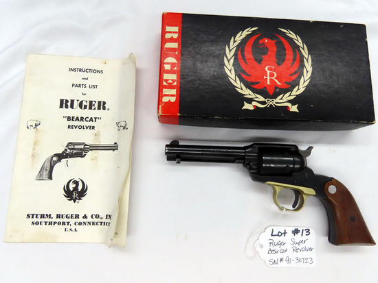 "Ruger Super Bearcat Revolver, SN #91-30723, .22 Long Rifle Caliber, 4"" Barrel, Engraved Cylinder, Wa"
