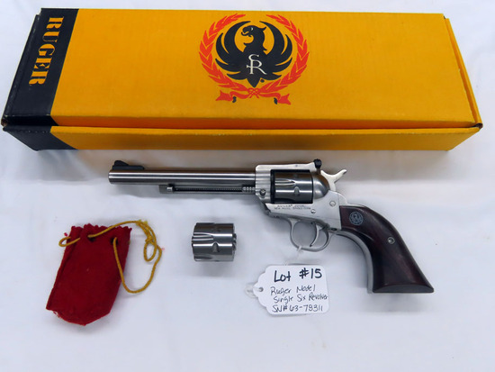 Ruger New Model Single Six Revolver, SN #63-78311, .22 Long Rifle with Extra Magnum Cylinder, 6 1/2""