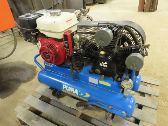 Puma Wheel Barrow Style Contractors Portable Air Compressor with Honda GX240 Gas Engine & 3-Lung Com