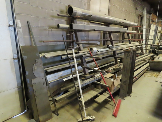 Large 1-Sided Steel Rack with Inventory.