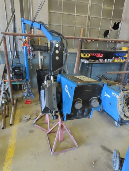 Miller Model XMT 350 CC/CV Auto-Line Arc Welder with Leans on Stand, Hydraulic Lift Arm Extension wi