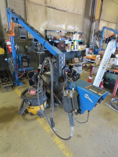 Miller Model ALT 304 Series DC Invertor Arc Welder on Stand with Air/Hydraulic Lift Arm with Miller