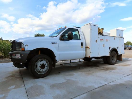 2004 Ford Model F-550 XL Dually Service Crane Truck, VIN# 1FDAF56534EC87301, Triton V-10 Gas Engine,