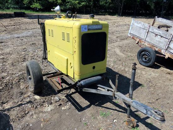 Hobart Portable Welder on Cart, 4-Cylinder Gas Engine.