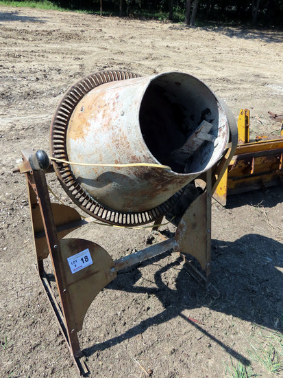 Stationary Cement Mixer on Stand with Electric Motor.