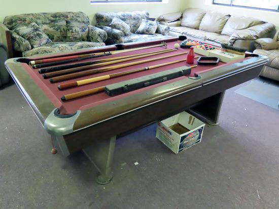 7' Slate Top Pool Table w/Pool Ball Set, Rack, 9 Ball Rack & Cues.