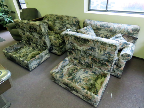 4-Piece Wildlife Scenery Loveseat & Oversized Occasional Chair with (2) Storage Ottomans.