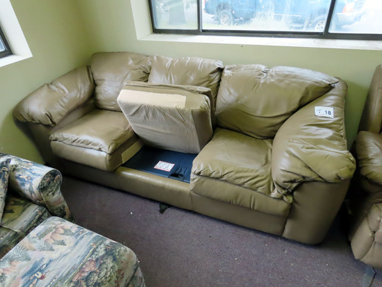 2-Piece Tan Sleeper Leather Sofa & Oversized Recliner.