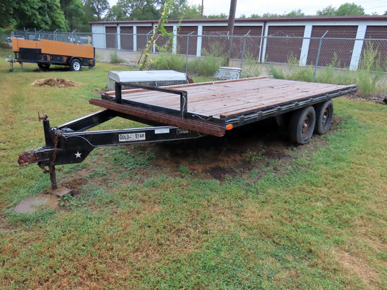 1994 Gold Star Tandem Axle Flatbed Tag Trailer, VIN# 4HFLS1629RT000205, 7,000lb Capacity, 225/75D15