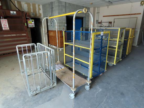 (4) Heavy Duty 4-Wheel Steel Carts, Hanging Wardrobe Cart.