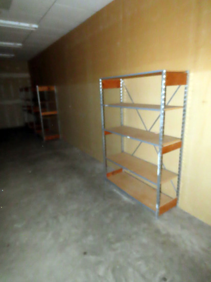 Room Contents by West Entrance: Metal Shelving Units with Wood Shelves, Bra
