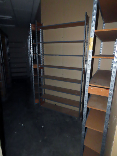 Shoe Storage Room: (5) Round Folding Banquet Tables, Lots of Metal & Wood S